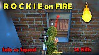 ROCKIE on FIRE🔥🔥 - 16 Kills Solo vs Squad | PUBG Mobile