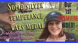 19th Century Solid Silver Temperance Wars Medal plus Giant Silver Ring Found