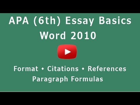 APA Format (6th) - Microsoft Word 2010