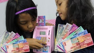 UNBOXING MAINAN ANAK ♥ ATM TABUNGAN PAKAI UANG BENERAN ??? CELENGAN ANAK HELLO KITTY