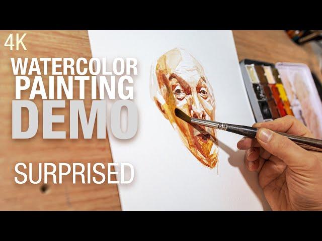 🎨 Comment peindre le portrait d'un homme surpris à l'aquarelle 4K