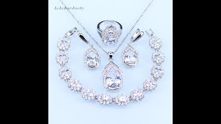 New Australia Crystal Water Drop silver 925 Jewelry Sets For Women