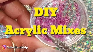 DIY ACRYLIC MIXES ♦️ GLITTER & GLOW NAILS ♦️ MIX WITH ME