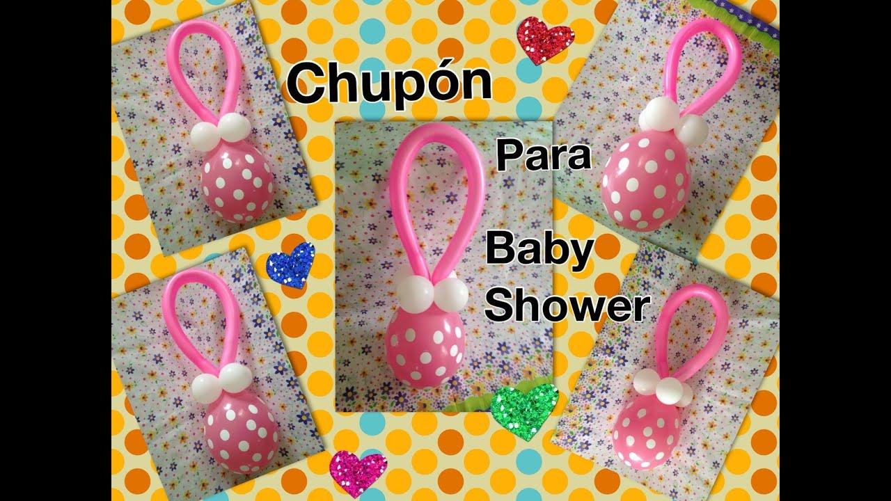 Chupon con globos para baby shower balloon pacifier - Decoracion con bombas para baby shower ...