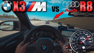 BMW X3M Competition meets Audi R8 V10 on German Autobahn✔