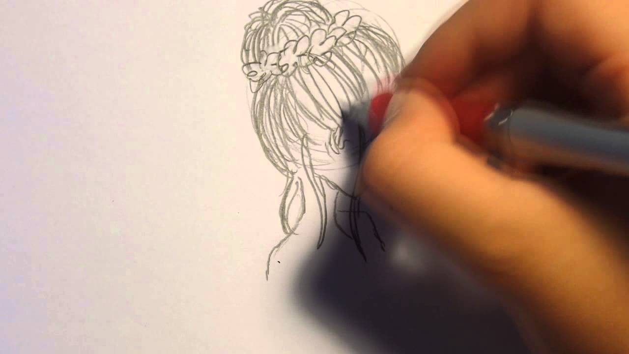 How To Draw A Girl With A Messy Bun Youtube
