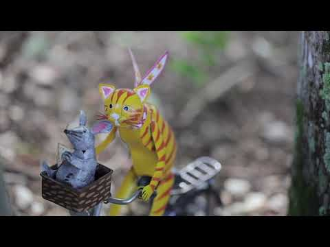 Cycling Cat and Mouse Metal Sculpture SKU# GO7978 - Wind & Weather