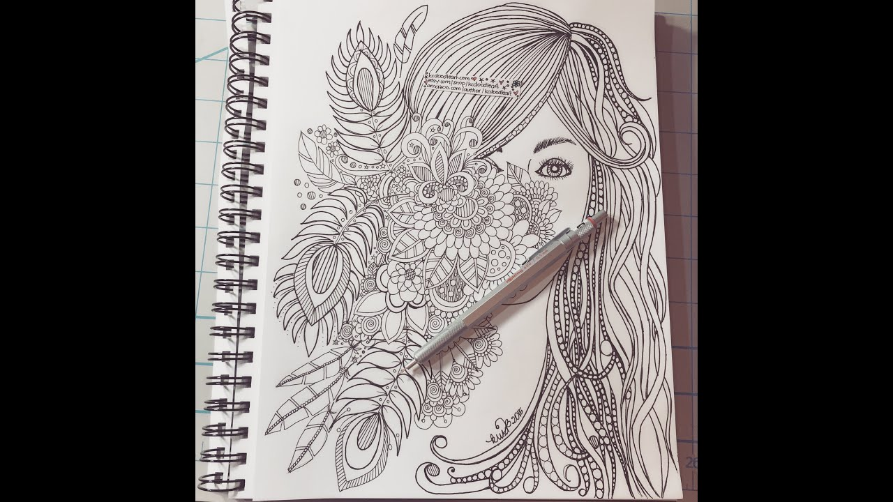 Speed doodling hidden face behind flowers youtube for Doodle art faces