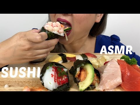 ASMR *NO TALKING | SUSHI Hand Roll & Sashimi | Relaxing Eating Sound | N.E Let's Eat