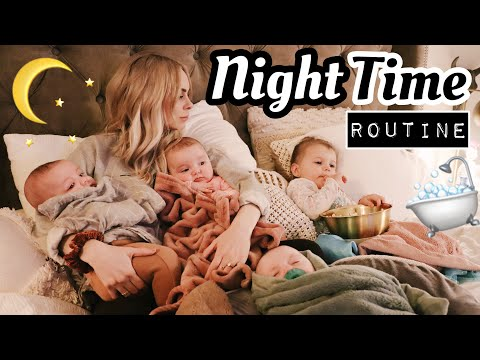 OUR NIGHT TIME ROUTINE with TRIPLETS AND A TODDLER