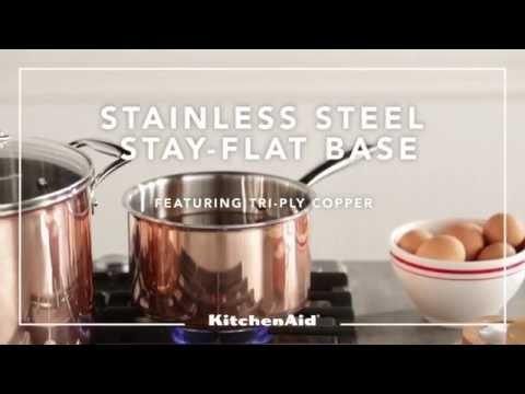 KitchenAid Tri-Ply Copper Cookware - YouTube on staub cookware, rachael ray cookware, anolon cookware, farberware cookware, lodge cookware, chef's choice cookware, dacor cookware, cook stainless steel cookware, induction cookware, bluestar cookware, paula deen cookware, baker's edge cookware, vasconia cookware, titanium cookware, delonghi cookware, williams-sonoma cookware, fujimaru cookware, calphalon cookware, cuisinart cookware, all-clad cookware, circulon cookware, scanpan cookware, emeril cookware, magnalite cookware, le creuset cookware, thermos cookware, viking cookware, sears cookware, sur la table cookware, pfaltzgraff cookware, lacor cookware,