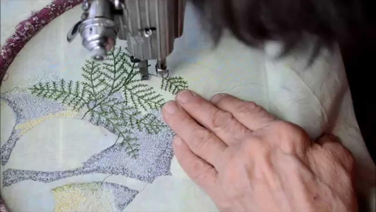 Ferns Free Motion Embroidery Art With A Vintage Treadle Sewing