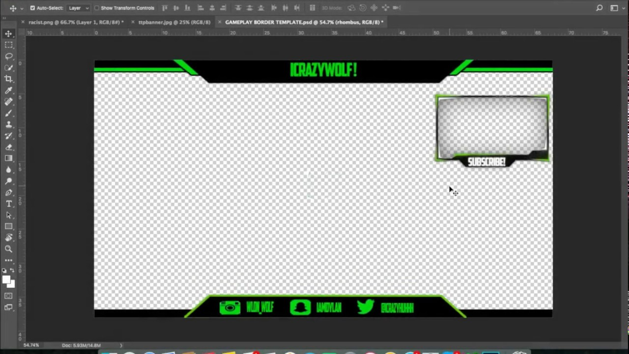facecam and gameplay border template free download in desc youtube
