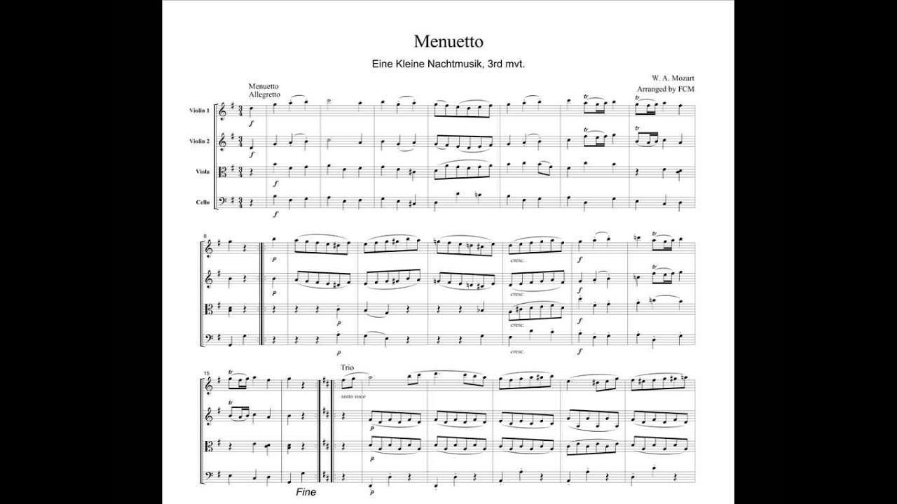 mozart menuetto eine kleine nachtmusik 3rd mvt for string quartet cm007 youtube. Black Bedroom Furniture Sets. Home Design Ideas