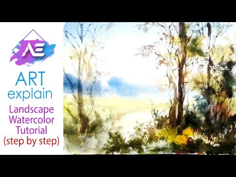 Transparent Watercolor Painting Landscape Tutorial | How to paint watercolor landscape | Art Explain