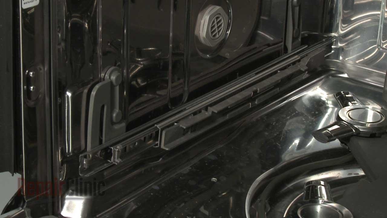 kitchenaid dishwasher replace left lower rack track w10822165