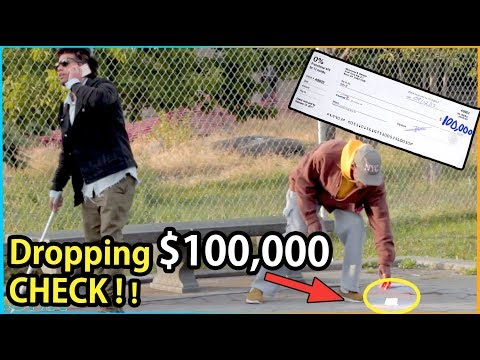 Download Youtube: BLIND MAN DROPPING $100,000 Check Experiment (Social Experiment