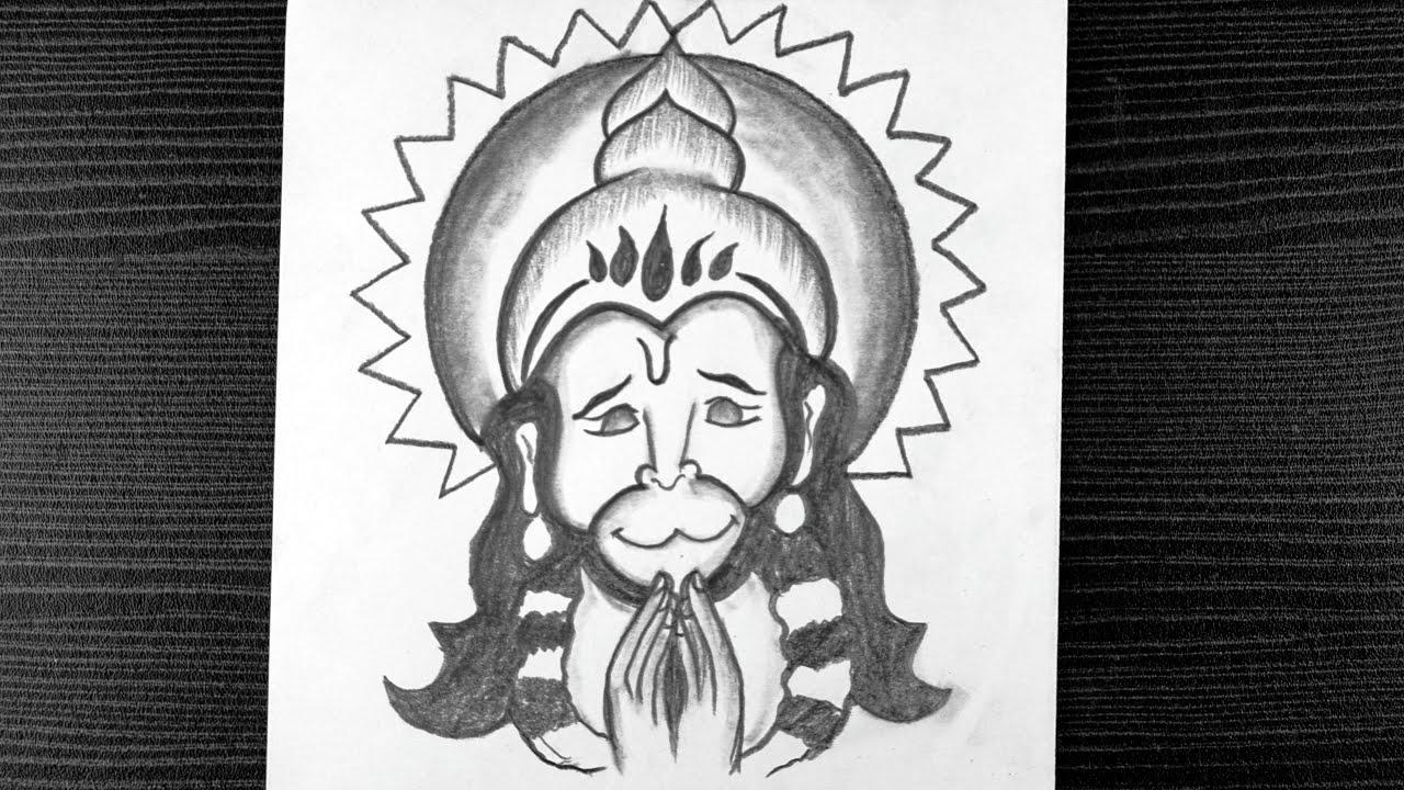 Hanuman Ji Drawing How To Draw Lord Hanuman Face Drawing With Pencil Pencil Art Youtube