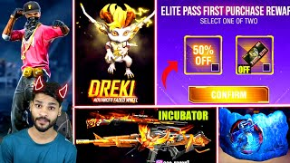 50% of Elite Pass Purchase | Dreki pet | Hip hop in box | Weapon Royale | M4A1 Incubator | Free fire