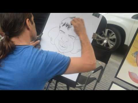 Street Artist Draws Caricature Portrait - Live Sketch HD - La Rambles, Barcelona 14/06/2016