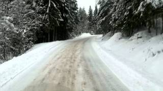 Ice Road Trucking In Mountain Roads , Norway 2011. Steep, high and icy.