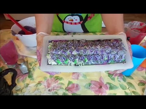 Making & Cutting Lavender Cucumber Cold Process Soap | Shells Spa Products