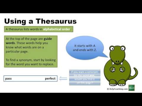 Using a Thesaurus - Lesson - HelpTeaching com