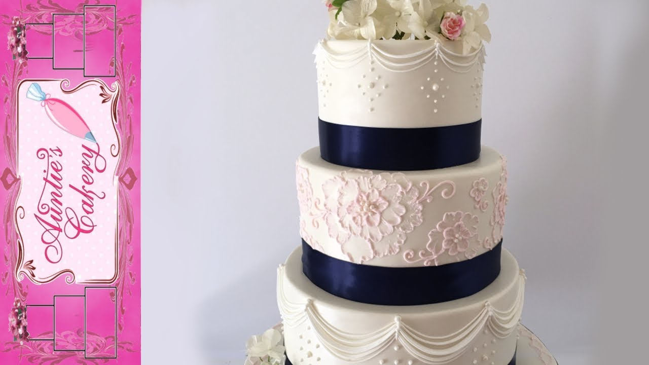 Pastel Pink And Navy Blue Decorated Wedding Cake Youtube