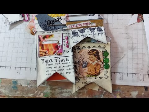 Junk journal PAPER CLIP ART made from collected materials, Embellishments, pockets and more.