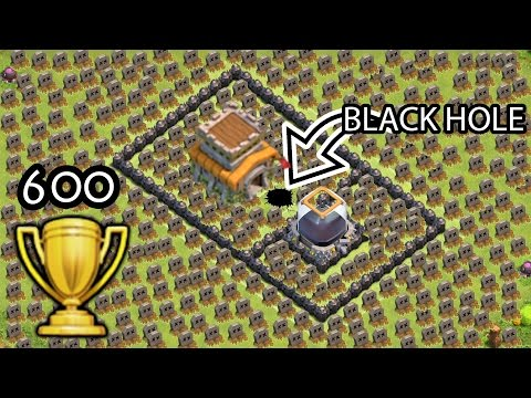 "Clash of Clans ""Black Hole TROLL BASE"" + 600 Cups Won in 3 days COC Funny Moments Defense Replays"