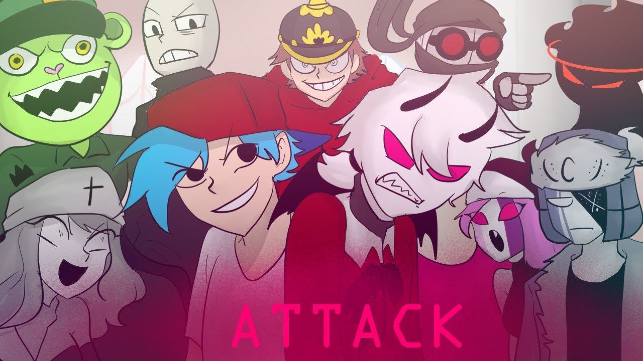 Download Attack but Every Turn a Different Character Sings (FNF animation)
