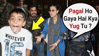 Kajol Son Yug Teasing Media At Airport - Funny Video