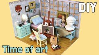 [DIY Miniature Dollhouse Room] Time of art/Painter's room/타임 오브 아트/화가의 방 미니어처