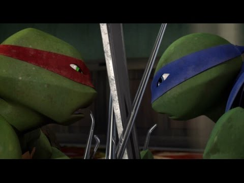 tmnt 2012 leo and raph fight