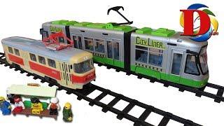 Открываем игрушки машинки Городской трамвай с гармошкой Dickie Toys City Liner обзор Новый мультик.