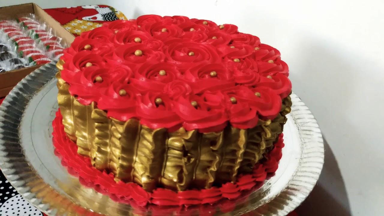 Bolo Dourado E Vermelho Chantilly Youtube