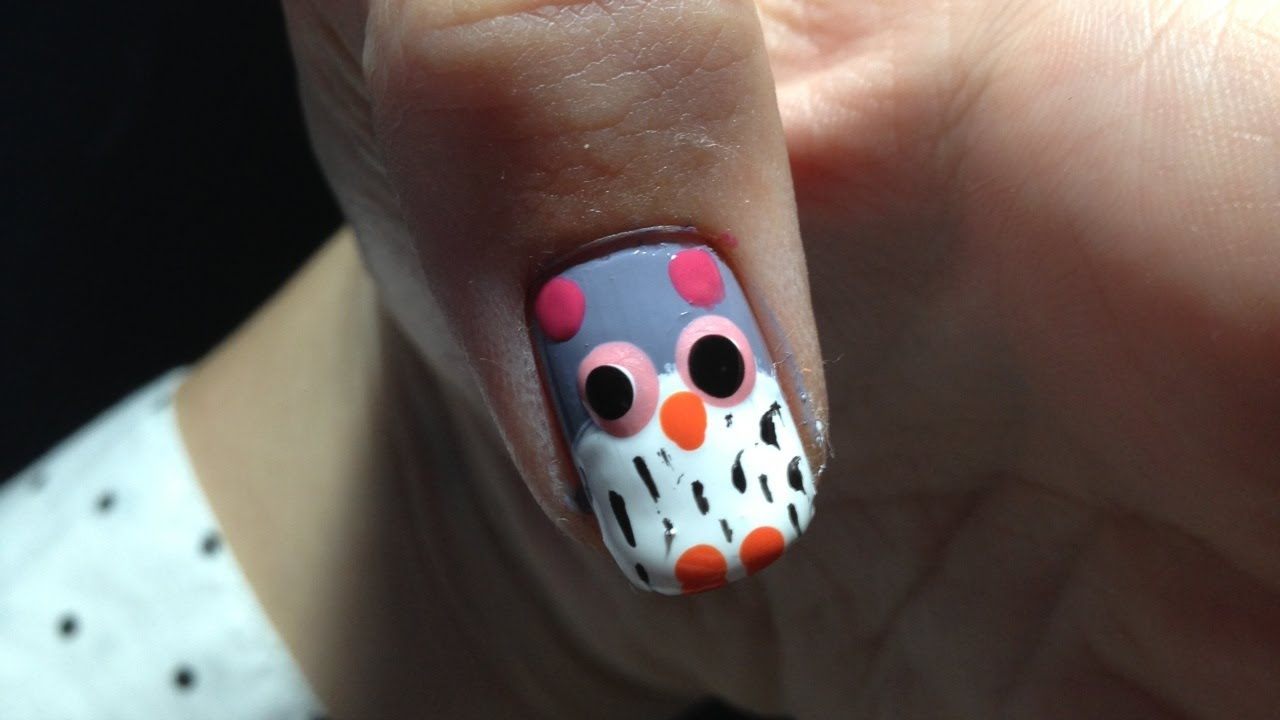 Cute and Easy Fall Owl Nail Art! (Tutorial) - YouTube