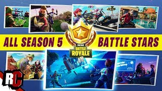 Tous les 7 SECRET BATTLE STARS dans la saison 5 Fortnite (Unlocking Road Trip Outfit / All Loading Screens)