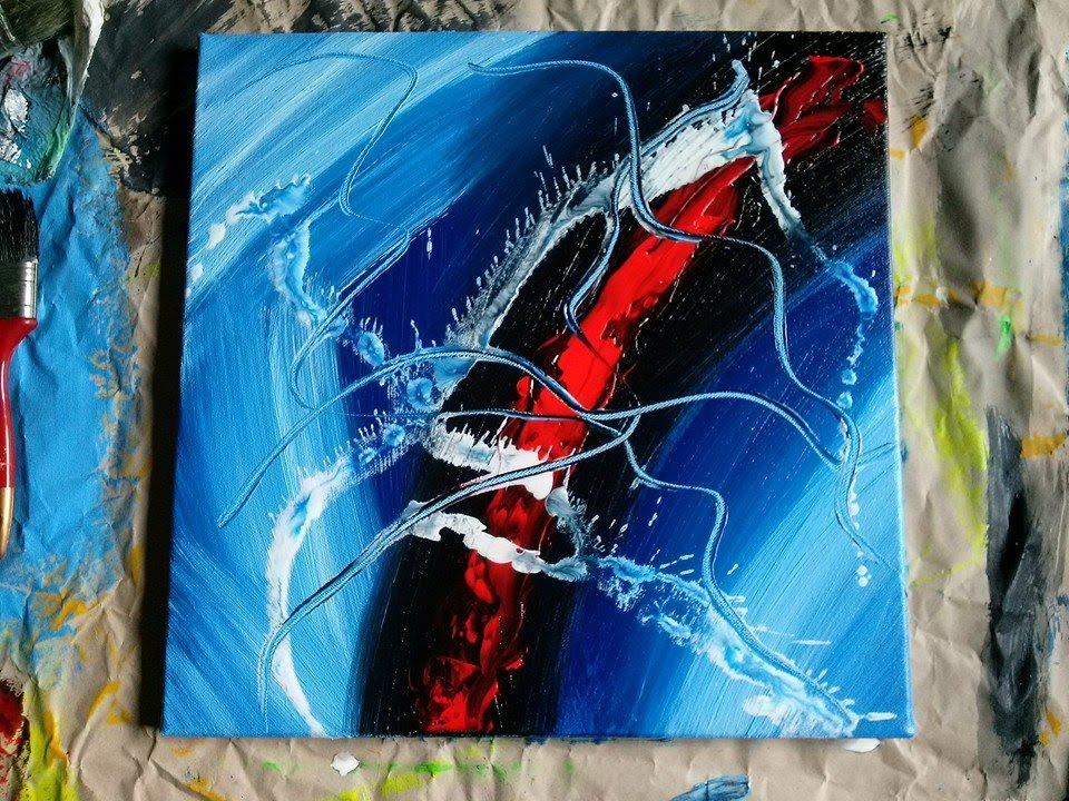 abstract painting art to go a big blue with some red youtube