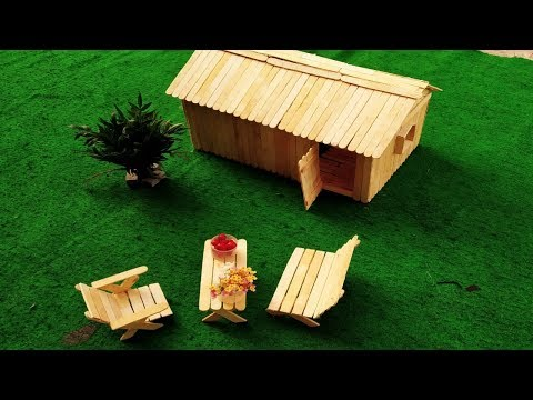 building a small and beutiyful house by using popsicle sticks.mini home design.