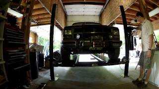 Chevy Suburban 2500 On The Lift - 4 Post Atlas Garage Pro Ext 8,000 Lb Auto Lift Installation