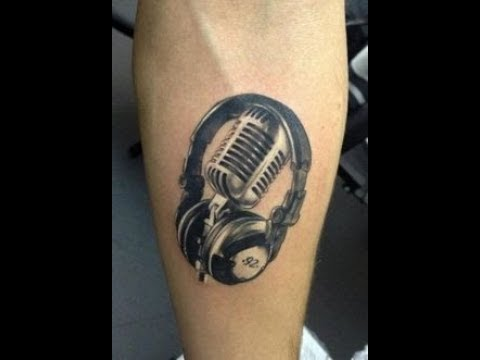 dj music headphones disc tattoo designs