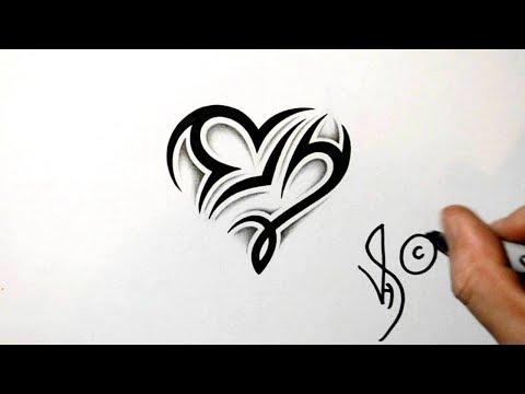Designing a Libra and Capricorn Heart Design - Zodiac Tribal Symbols