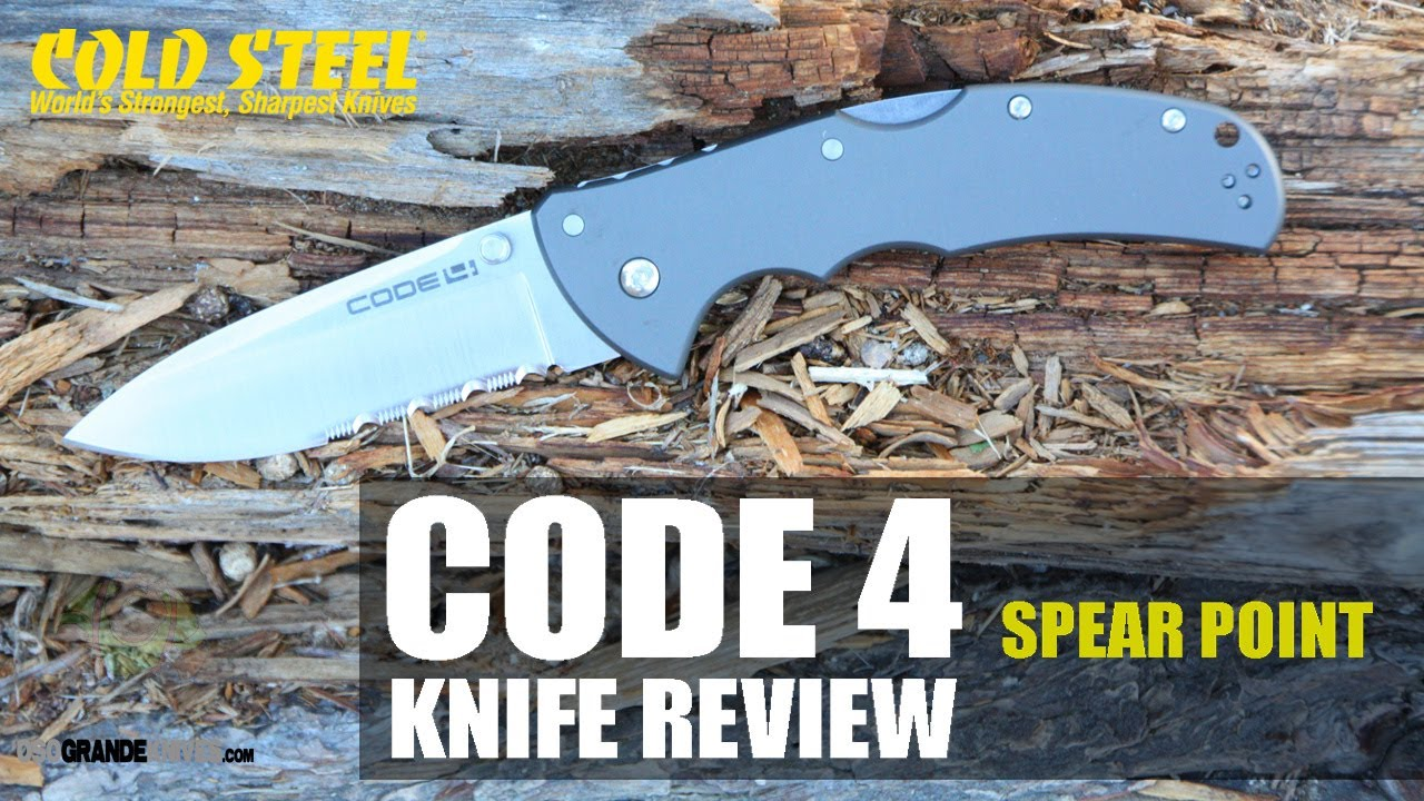 Cold Steel Code 4 Spear Point Model 58TPS Knife Review - YouTube