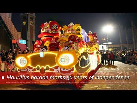Live: Mauritius parade marks 50 years of independence直播:毛里求斯50周年庆上的中国风