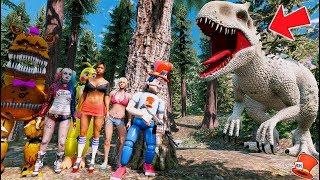REDHATTER & ANIMATRONICS vs GIANT INDOMINUS T-REX! (GTA 5 Mods FNAF RedHatter)