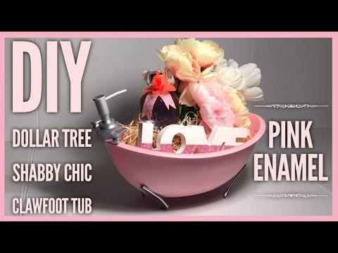 DIY Shabby Chic Farmhouse Enamel Clawfoot BathTub - Dollar Tree Room Decor - Mother's Day Gift Idea