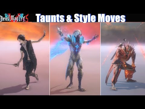 DMC 5 All Taunts & Style Rank Moves Showcase (Dante Nero V) - Devil May Cry 5 2019 thumbnail