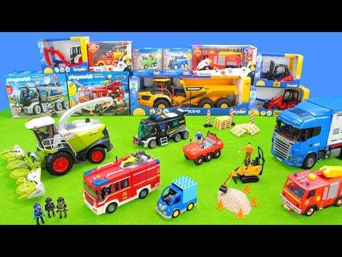 polizeiautos-für-kinder-|-spielzeug-feuerwehrautos,-traktor-&-lastwagen-auf-der-straße