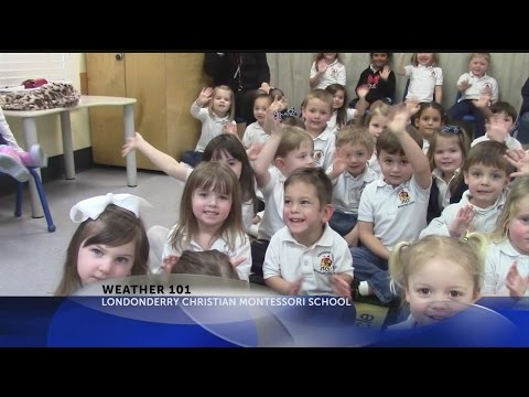 Rob Fowler Talks Weather with kids at Londonderry Christian Montessori School